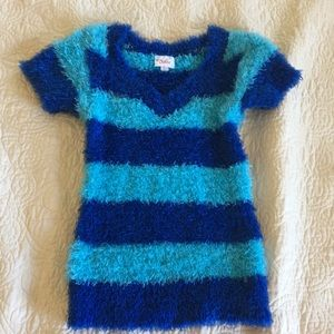 Justice striped fuzzy shirt girls size 8